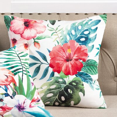 Sherwick Hibiscus Floral Tropical Print Indoor/Outdoor Throw Pillow