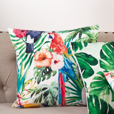 Tropical Parrot Floral Print Indoor/Outdoor Throw Pillow