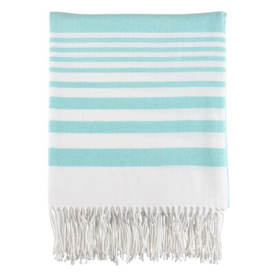 Maricela Stripes and Tasseled Fringe Blanket Color: Aqua