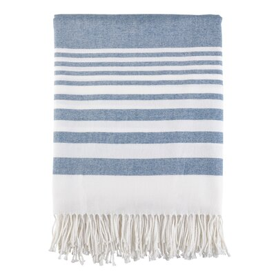 Maricela Stripes and Tasseled Fringe Blanket Color: Navy Blue