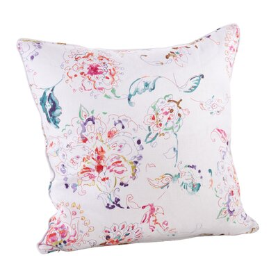 Floral Linen Throw Pillow Color: White