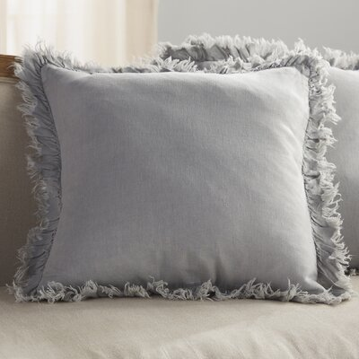 Ruffled Linen Throw Pillow Color: Blue Grey