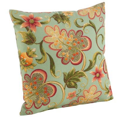 Flowering Vine Indoor/Outdoor Throw Pillow Color: Turquoise, Size: 17 H x 17 W