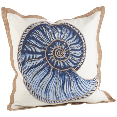 Neptunian Spiral Shell 100% Cotton Throw Pillow