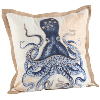 Neptunian Octopus Nautical 100% Cotton Throw Pillow