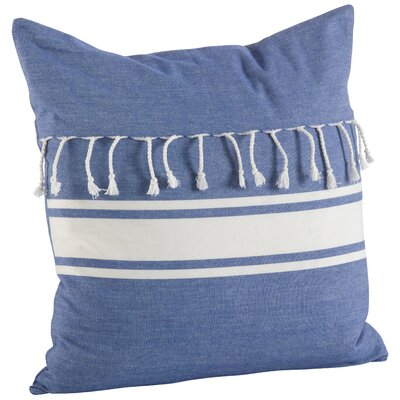 Ashenda Stripe and Tassel Fringe Trim 100% Cotton Throw Pillow Color: Blue