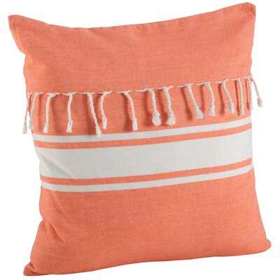 Ashenda Stripe and Tassel Fringe Trim 100% Cotton Throw Pillow Color: Orange