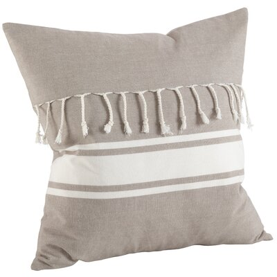 Ashenda Stripe and Tassel Fringe Trim 100% Cotton Throw Pillow Color: Taupe
