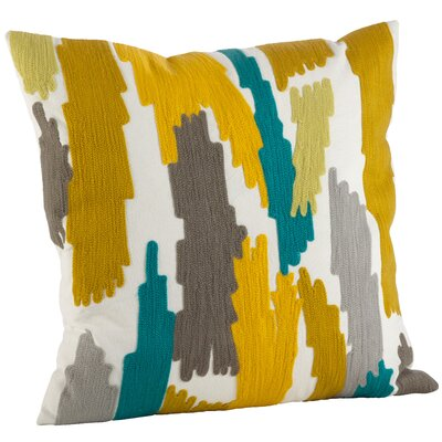 Pennello Brushstroke Embroidery 100% Cotton Throw Pillow Color: Chartreuse