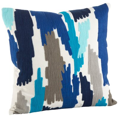 Pennello Brushstroke Embroidery 100% Cotton Throw Pillow Color: Ocean Blue