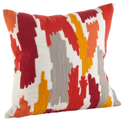 Pennello Brushstroke Embroidery 100% Cotton Throw Pillow Color: Rust