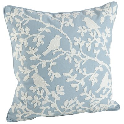 Eden Bird Branch Embroidered 100% Cotton Throw Pillow Color: Blue/White
