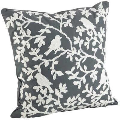Eden Bird Branch Embroidered 100% Cotton Throw Pillow Color: Gray/White
