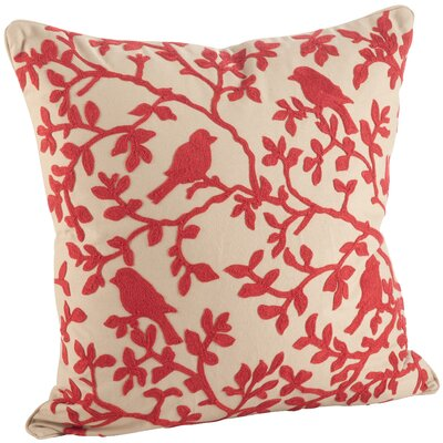 Eden Bird Branch Embroidered 100% Cotton Throw Pillow Color: Red/Beige