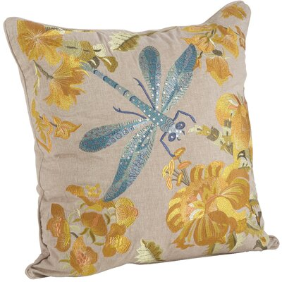 Natureza Dragonfly Floral Embroidery 100% Cotton Throw Pillow