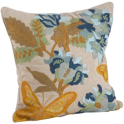 Natureza Butterfly Embroidery 100% Cotton Throw Pillow
