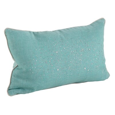 Crystal Rhinestone Gem Lumbar Pillow Color: Aqua