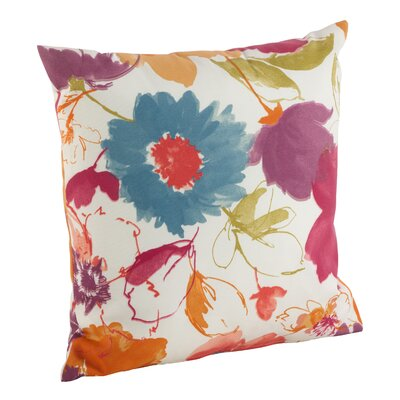 Watercolor Floral Art Poly Filled Indoor/Outdoor Throw Pillow