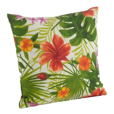 Tropical Hibiscus Floral Indoor/Outdoor Throw Pillow Size: 17 H x 17 W