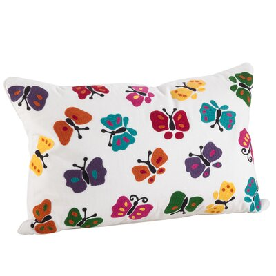 Hahai Embroidered Butterfly Applique Down Filled Lumbar Pillow