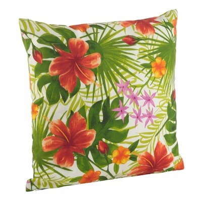 Tropical Hibiscus Floral Indoor/Outdoor Throw Pillow Size: 21 H x 21 W