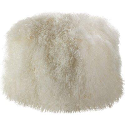 Mongolian Lamb Fur Pouf Ottoman Upholstery: Ivory