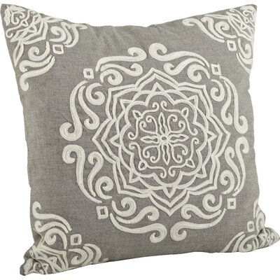 Carmen Embroidered Cotton Throw Pillow Color: Gray