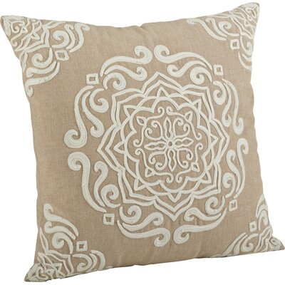 Lucile Embroidered Cotton Throw Pillow Color: Natural