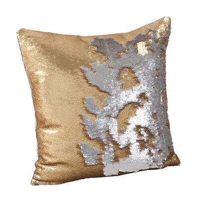 Sequin Mermaid Polyester Throw Pillow Color: Gold/Silver