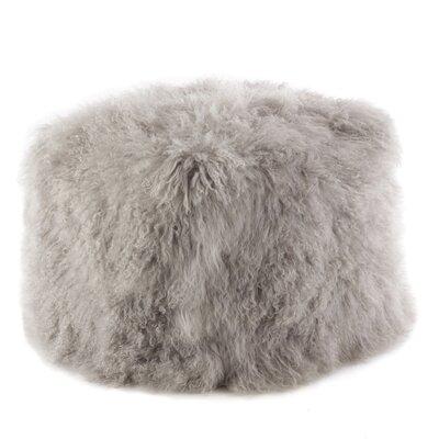 Mongolian Lamb Fur Pouf Ottoman Upholstery: Fog