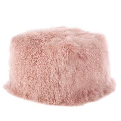 Mongolian Lamb Fur Pouf Ottoman Upholstery: Rose