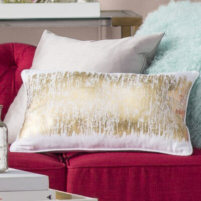 Garlan Metallic Banded Cotton Lumbar Pillow Color: Gold