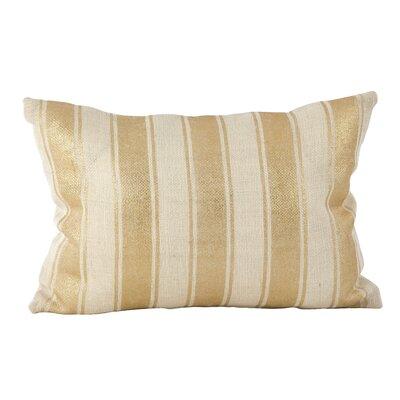 Laurel Metallic Stripe Foil Pattern Lumbar Pillow Color: Ivory