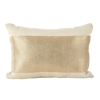 Laurel Metallic Stripe Band Foiled Lumbar Pillow Color: Ivory