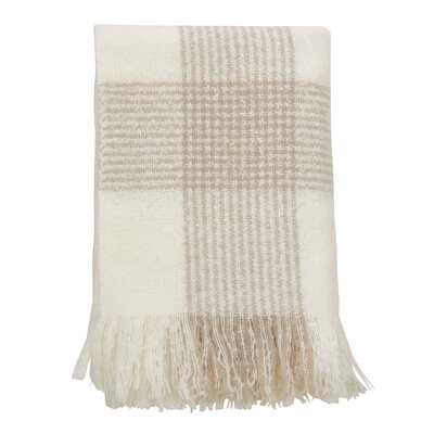 Shaylene Faux Mohair Plaid Pattern Tassel Acrylic Throw