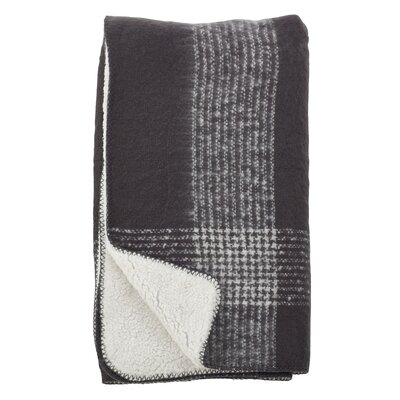 Auburnhill Faux Mohair Plaid Design Pattern Sherpa Reversible Throw Color: Grey