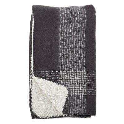 Auburnhill Faux Mohair Plaid Design Pattern Sherpa Reversible Throw Color: Grey