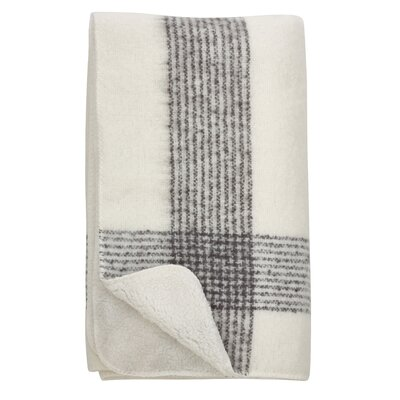 Auburnhill Faux Mohair Plaid Design Pattern Sherpa Reversible Throw Color: Ivory