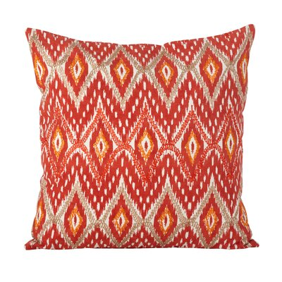 Keliana Stitched Ikat Cotton Throw Pillow Color: Brick
