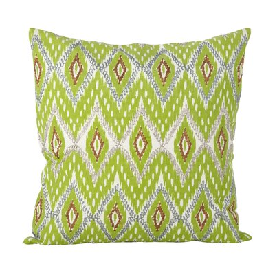 Campos Stitched Ikat Cotton Throw Pillow Color: Lime