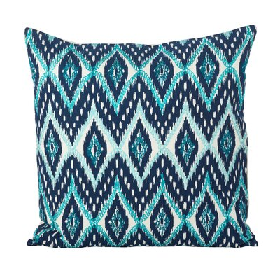 Keliana Stitched Ikat Cotton Throw Pillow Color: Navy Blue