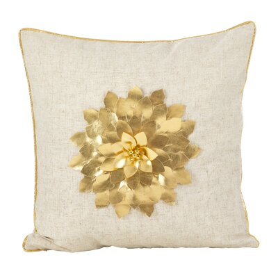 Petronella Metallic Flower Design Christmas Holiday Throw Pillow Color: Gold
