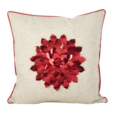 Petronella Metallic Flower Design Christmas Holiday Throw Pillow Color: Red