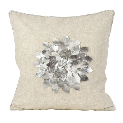 Petronella Metallic Flower Design Christmas Holiday Throw Pillow Color: Silver