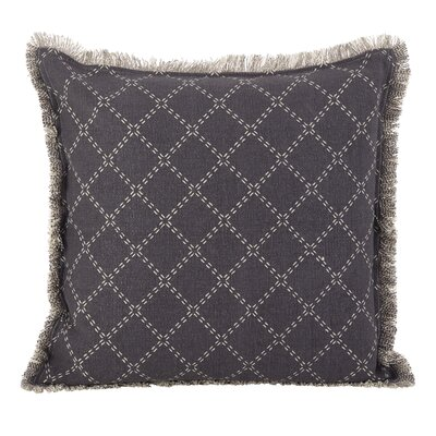 Audubon Fringe Border Cotton Throw Pillow Color: Slate