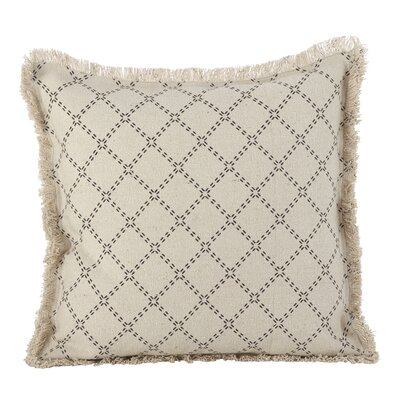 Audubon Fringe Border Cotton Throw Pillow Color: Natural