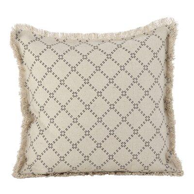 Audubon Fringe Border Cotton Throw Pillow Color: Natural