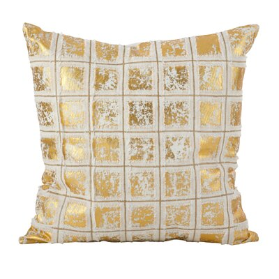 Alcyone Metallic Foiled Grid Fringe Cotton Throw Pillow Color: Gold