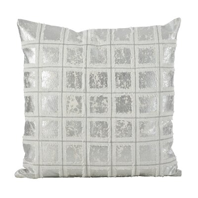 Alcyone Metallic Foiled Grid Fringe Cotton Throw Pillow Color: Silver