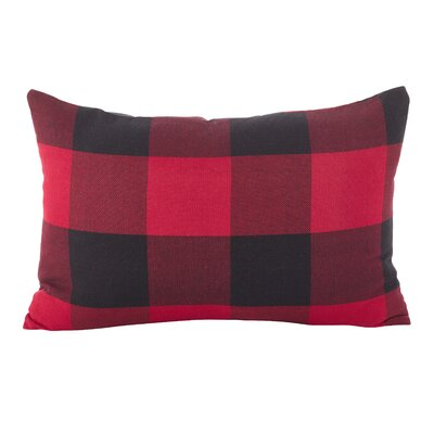 Corina Buffalo Check Classic Cotton Lumbar Pillow Color: Red